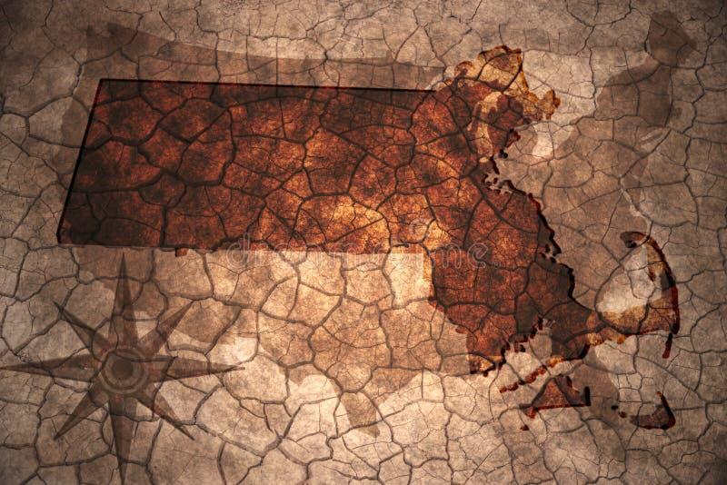 rocznika Massachusetts stanu mapa royalty ilustracja
