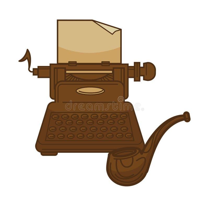 Rocznika maszyna do pisania i pisarskie stare dymienie drymby wektorowe ikony dla poezi literatury lub bookstore bibliotecznego p ilustracji