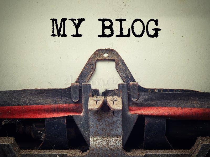 Rocznika maszyna do pisania mój blogu tekst fotografia stock