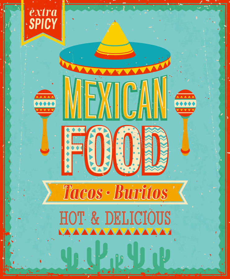 Rocznika Meksykański Karmowy plakat. ilustracji