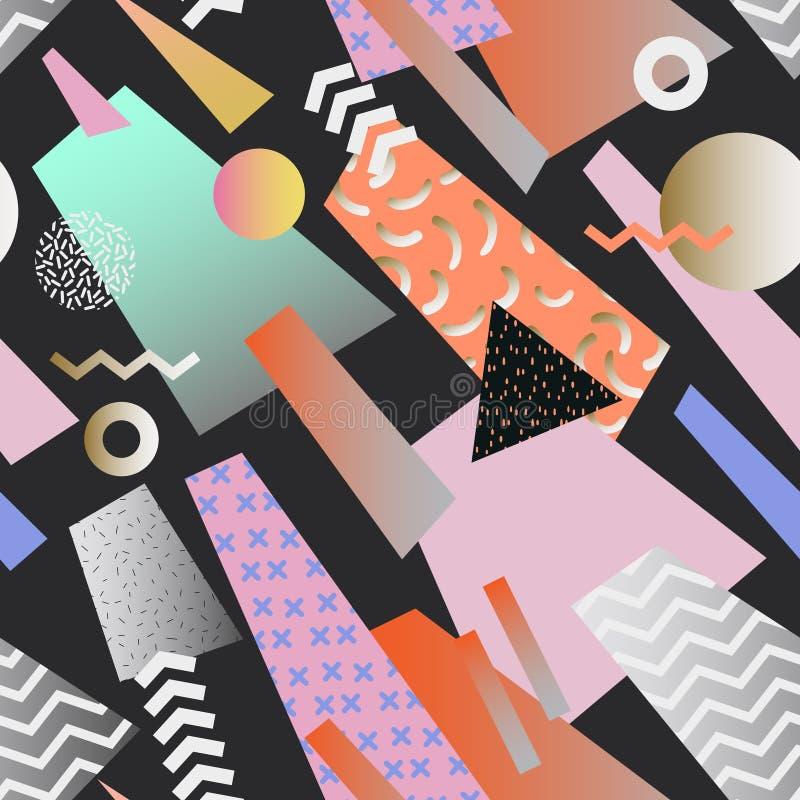 Rocznika Memphis Geometryczny Bezszwowy wzór Abstrakt kształtuje tło 80s 90s stylu skład dla tkaniny ilustracja wektor