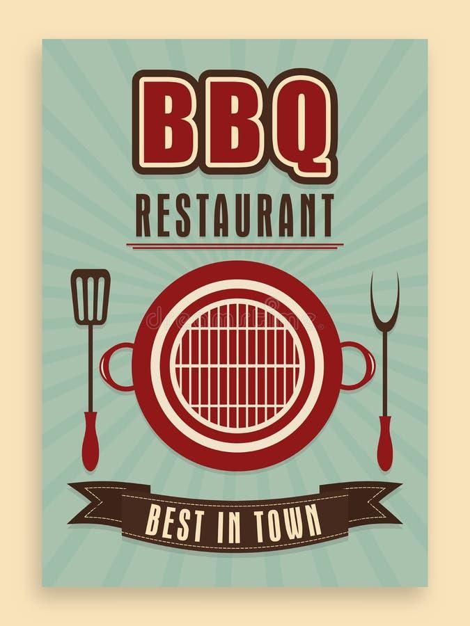 Rocznika menu karta dla bbq restauraci ilustracji