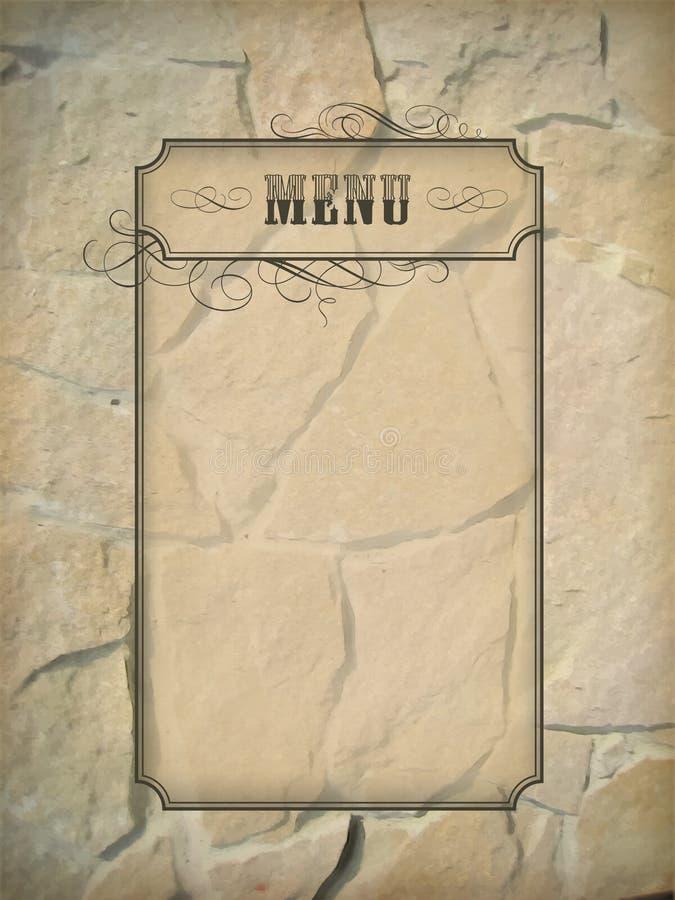 Rocznika menu ramy kamienna ściana ilustracja wektor