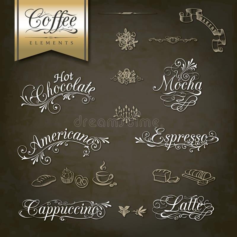 Rocznika menu stylowi Kawowi projekty ilustracja wektor
