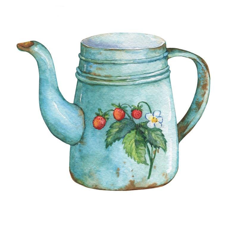 Rocznika metalu błękitny teapot z truskawka wzorem ilustracji