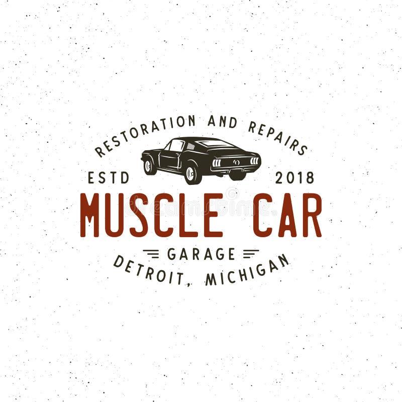 Rocznika mięśnia garażu samochodowy logo również zwrócić corel ilustracji wektora ilustracja wektor