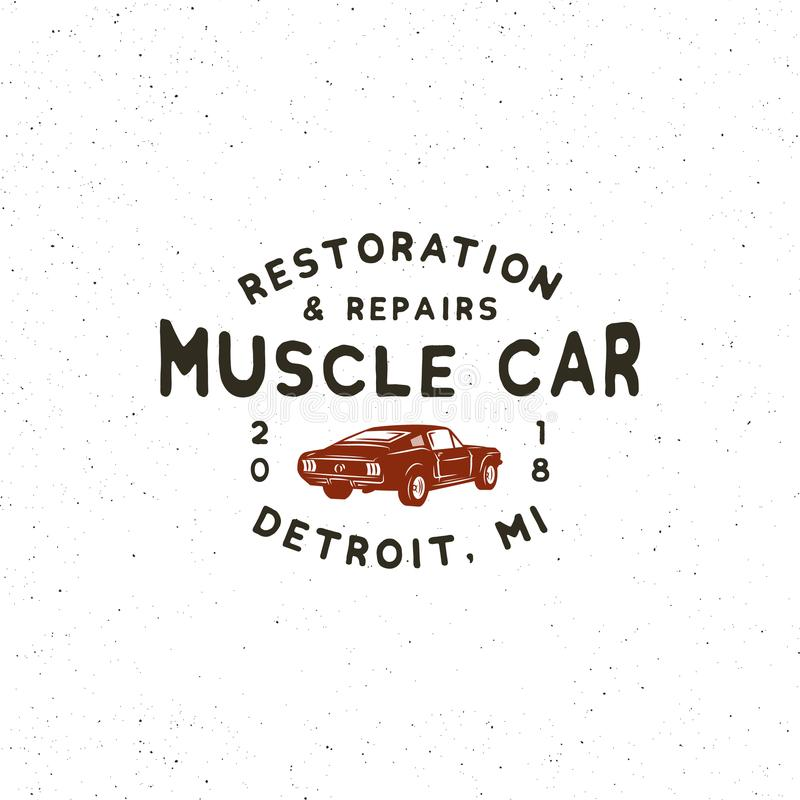 Rocznika mięśnia garażu samochodowy logo również zwrócić corel ilustracji wektora ilustracji