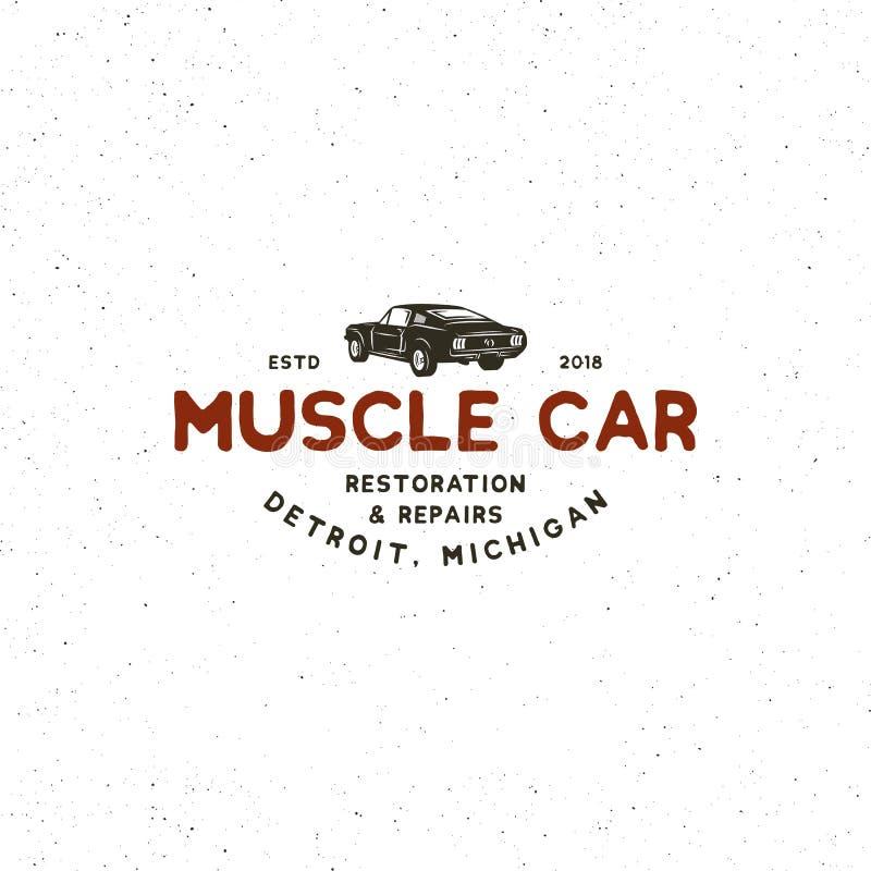Rocznika mięśnia garażu samochodowy logo również zwrócić corel ilustracji wektora royalty ilustracja