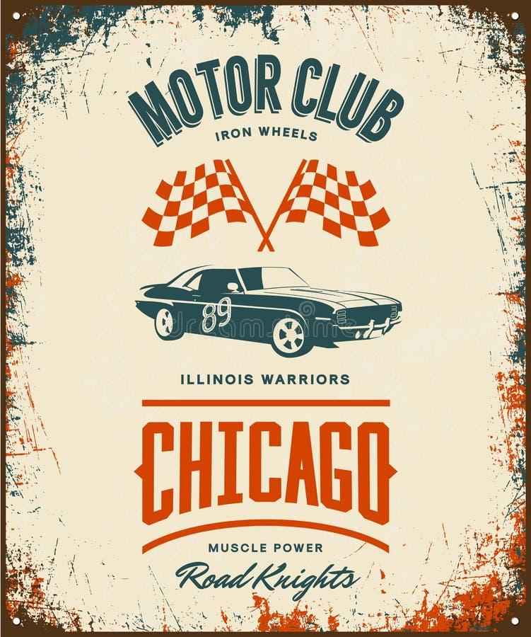 Rocznika mięśnia pojazdu wektorowy logo odizolowywający na lekkim tle royalty ilustracja