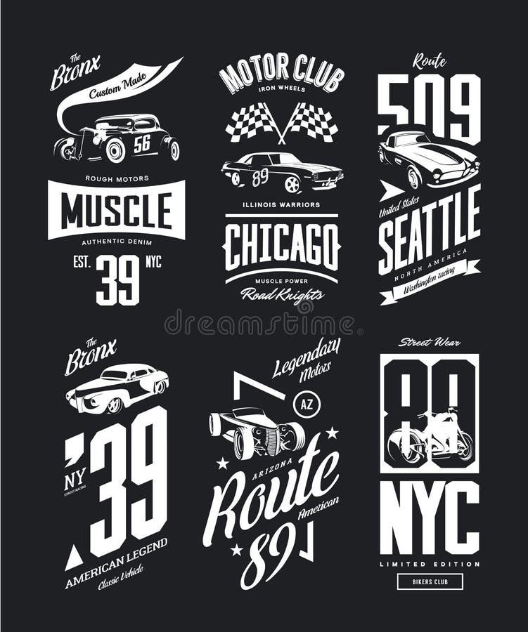 Rocznika mięśnia samochód, terenówki koszulki wektorowy logo odizolowywał set royalty ilustracja
