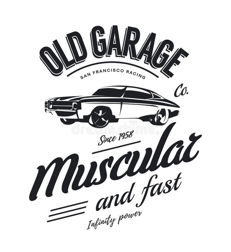 Rocznika mięśnia samochodowy wektorowy logo odizolowywający na białym tle ilustracja wektor