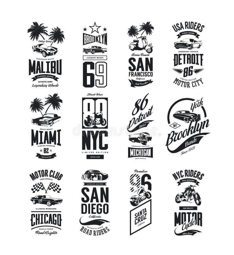 Rocznika mięśnia, terenówki i klasyka koszulki samochodowy wektorowy logo, odizolowywał set ilustracja wektor