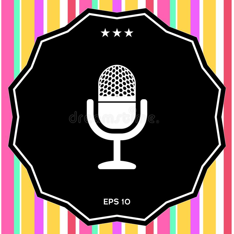 rocznika mikrofonu ikona ilustracji