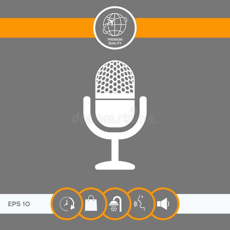 rocznika mikrofonu ikona ilustracja wektor