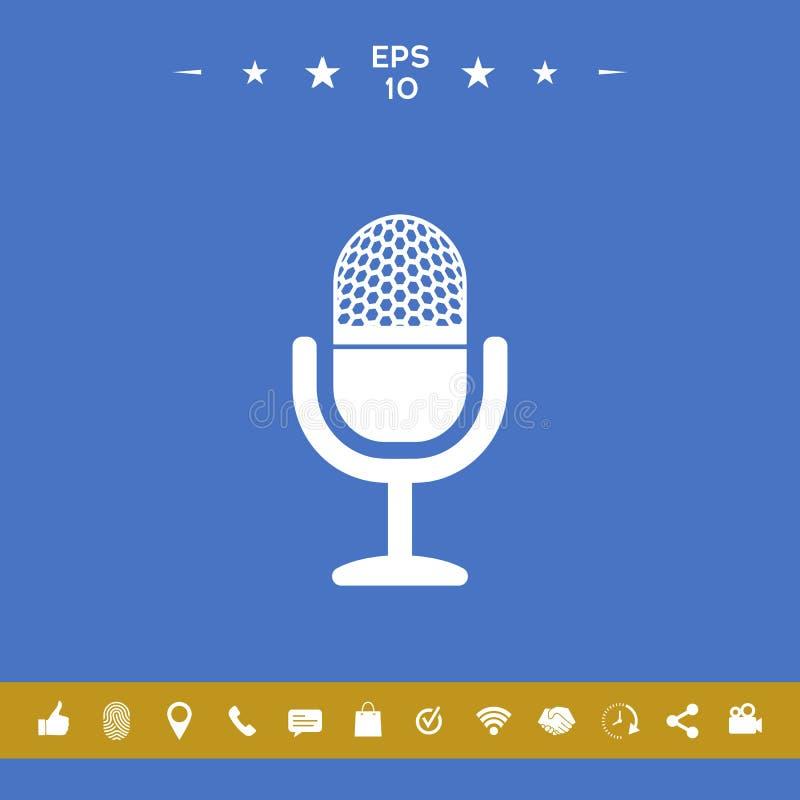 rocznika mikrofonu ikona royalty ilustracja