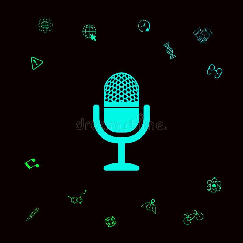 rocznika mikrofonu ikona Graficzni elementy dla twój designt royalty ilustracja