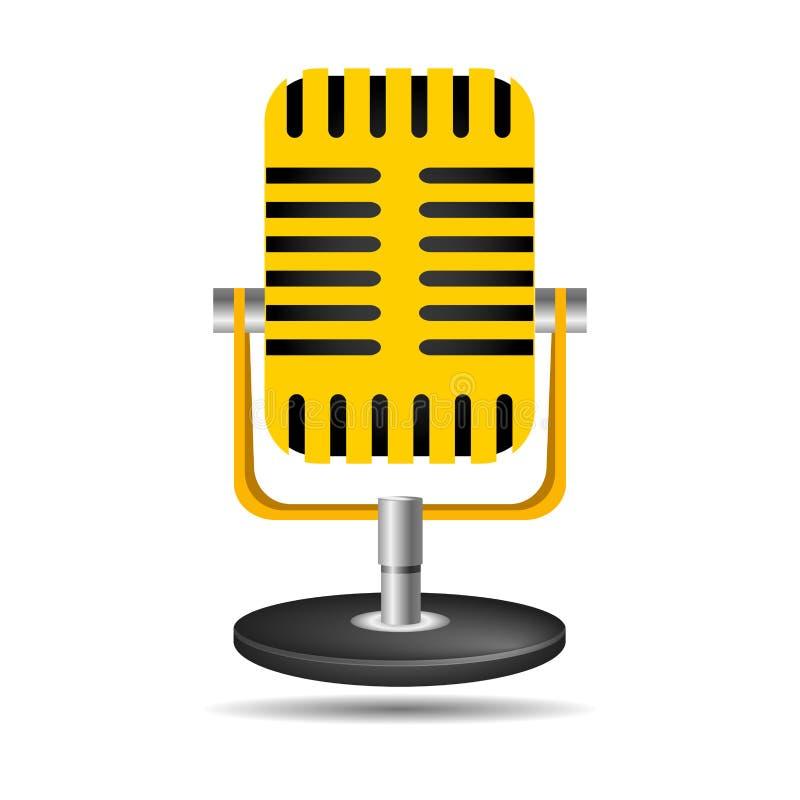 Rocznika mikrofonu ikona odizolowywająca na białym tle Projektuje elementy dla loga, plakat, emblemat, znak ilustracji