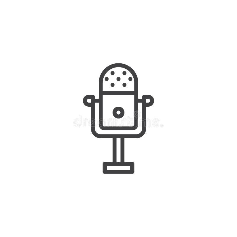 Rocznika mikrofonu konturu ikona royalty ilustracja