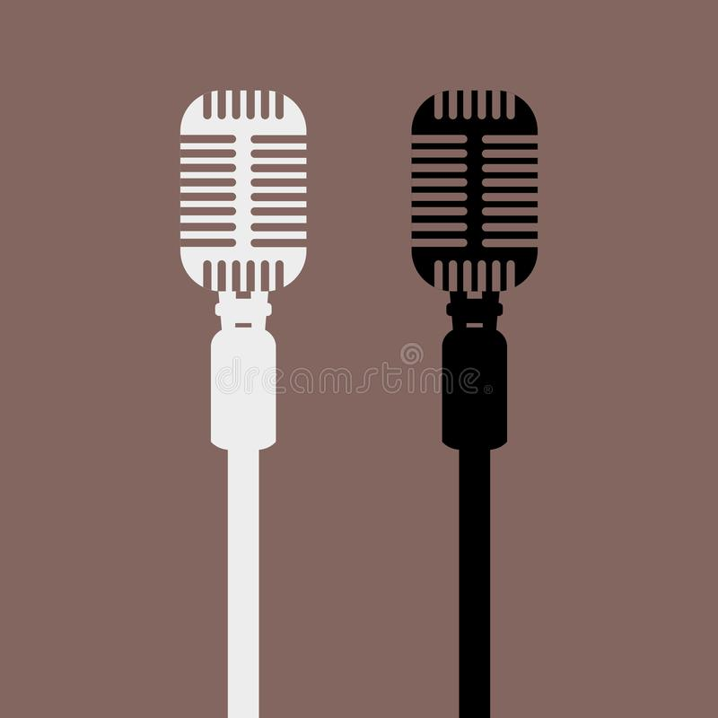 Rocznika mikrofonu retro mockup z frontowym widokiem Odosobniona płaska wektorowa ilustracja ilustracja wektor
