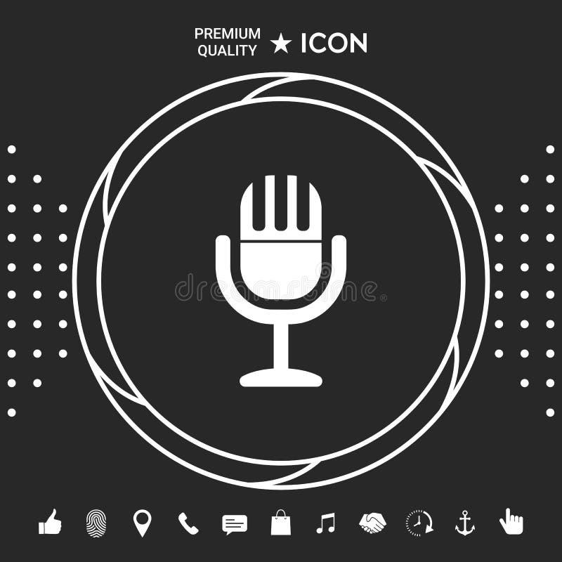 Rocznika mikrofonu symbolu ikona Graficzni elementy dla twój designt royalty ilustracja
