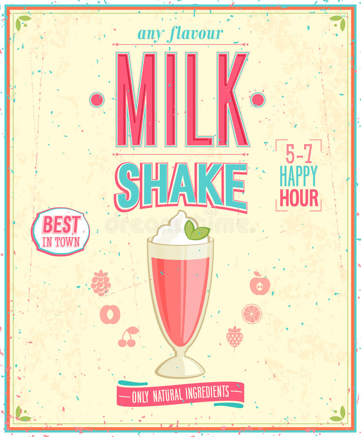 Rocznika MilkShake plakat. ilustracja wektor