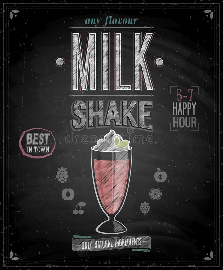 Rocznika MilkShake plakat - Chalkboard. ilustracji