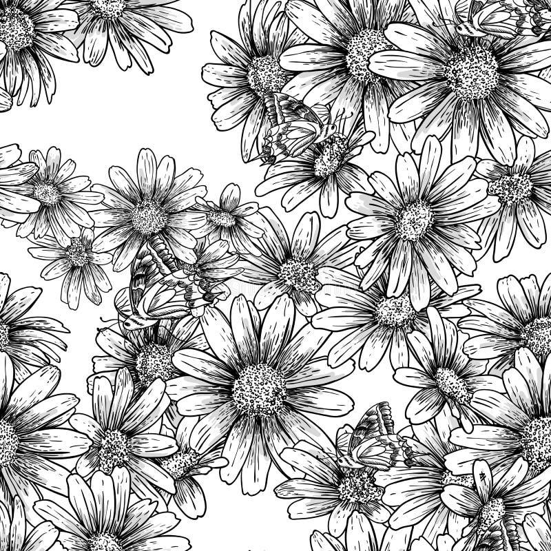 Rocznika monochromu bezszwowy wzór z stokrotkami ilustracji