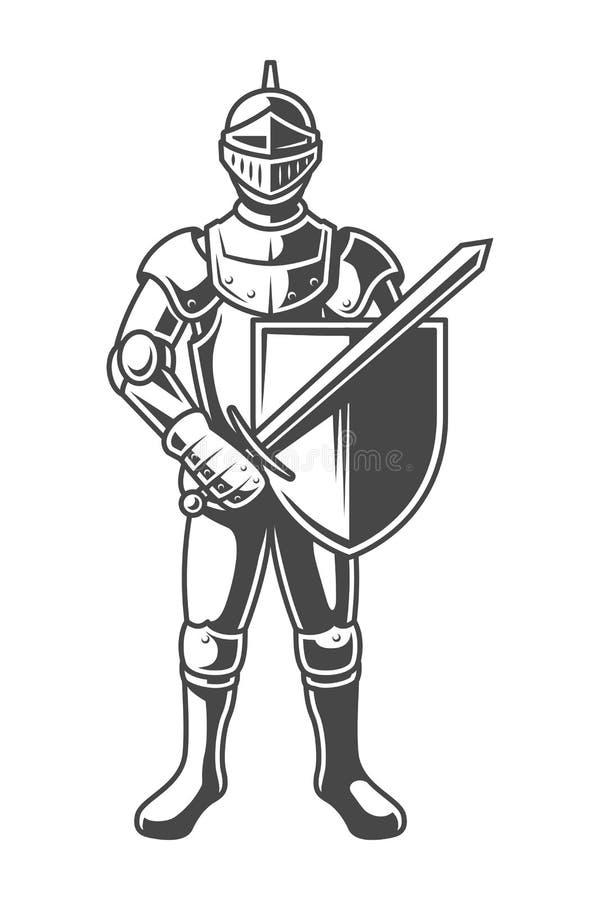 Rocznika monochromu odważny rycerz royalty ilustracja