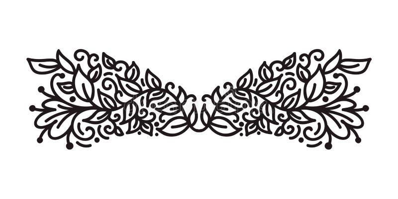 Rocznika monoline zawijasa monograma scandinavian wektor z liśćmi i kwiatami Kąty i dividers dla walentynka dnia ilustracja wektor