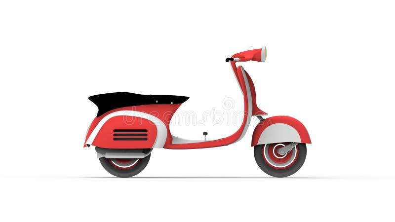 Rocznika moped 3d rendering odizolowywający w białym pracownianym tle ilustracji