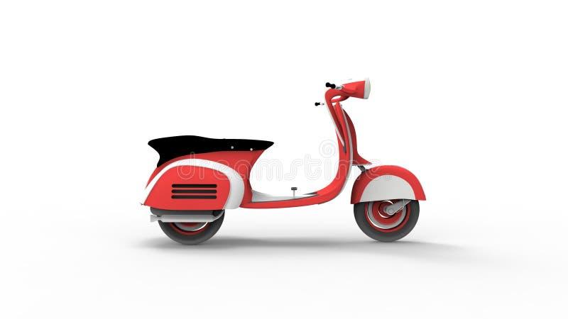 Rocznika moped 3d rendering odizolowywający w białym pracownianym tle royalty ilustracja