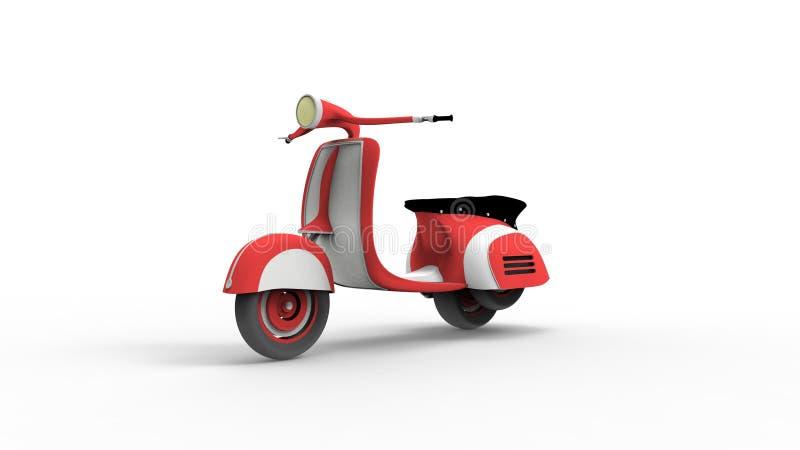 Rocznika moped 3d rendering odizolowywający w białym pracownianym tle ilustracja wektor