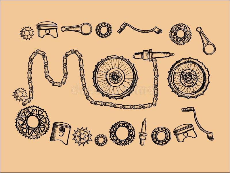 Rocznika moto części ilustracja wektor