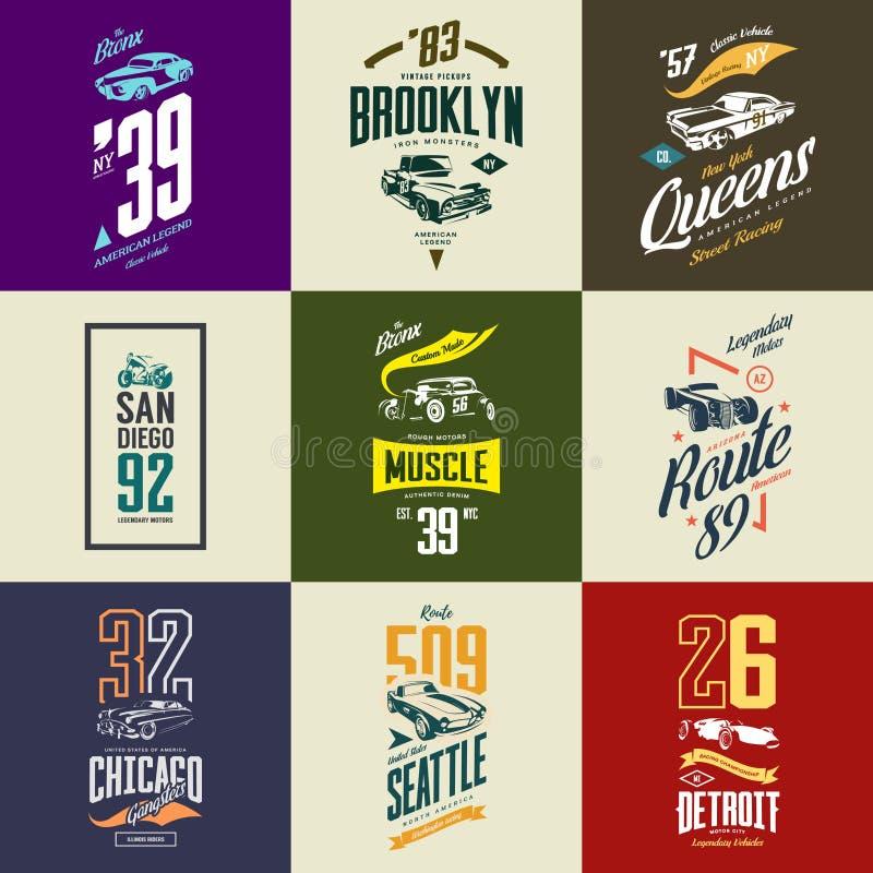 Rocznika motocykl, mięsień, terenówka, gorący prącie i klasyk koszulki samochodowy wektorowy logo, odizolowywaliśmy set ilustracji