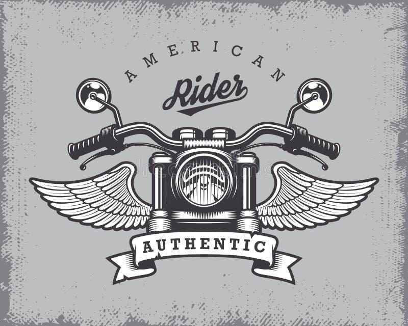 Rocznika motocyklu druk ilustracja wektor