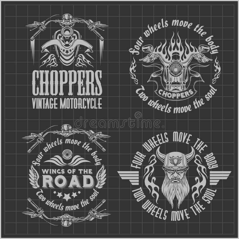 Rocznika motocyklu etykietki, odznaki i projekt, royalty ilustracja