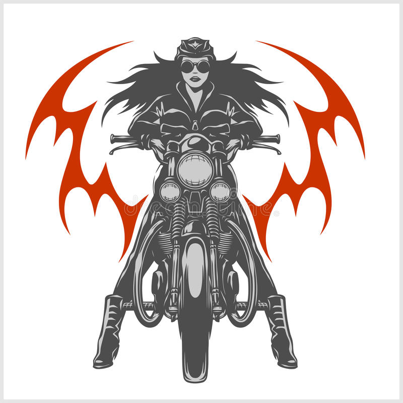 Rocznika motocyklu garażu silnika klubu emblemat z seksowną dziewczyną royalty ilustracja