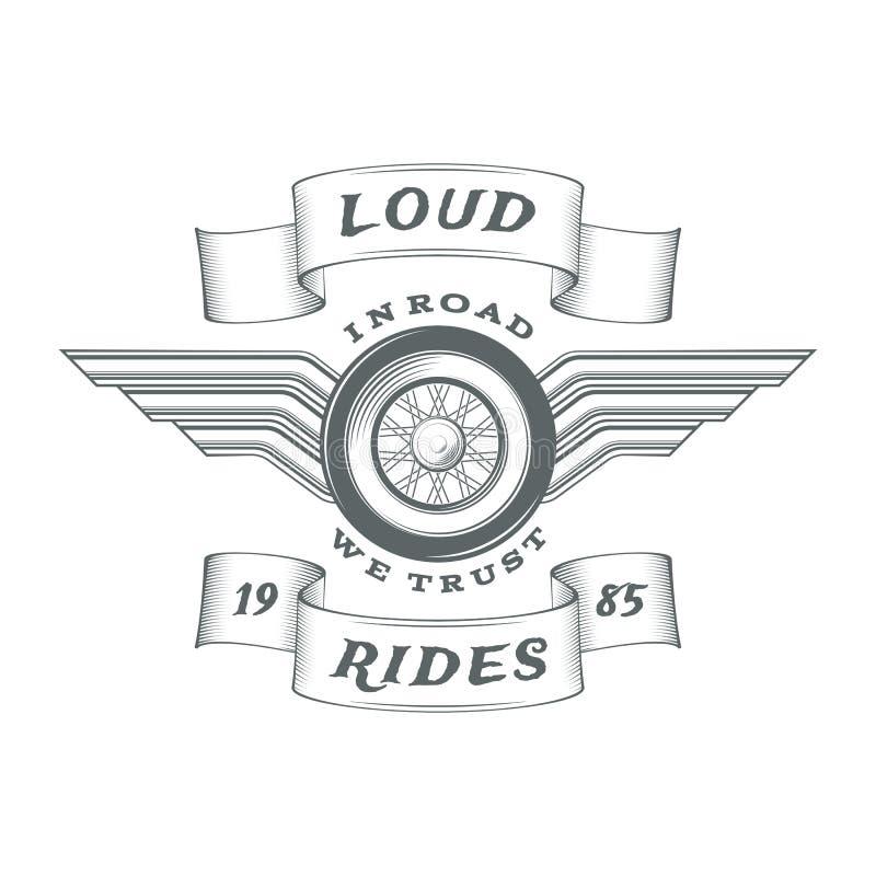 Rocznika motocyklu heraldyczna etykietka ilustracja wektor