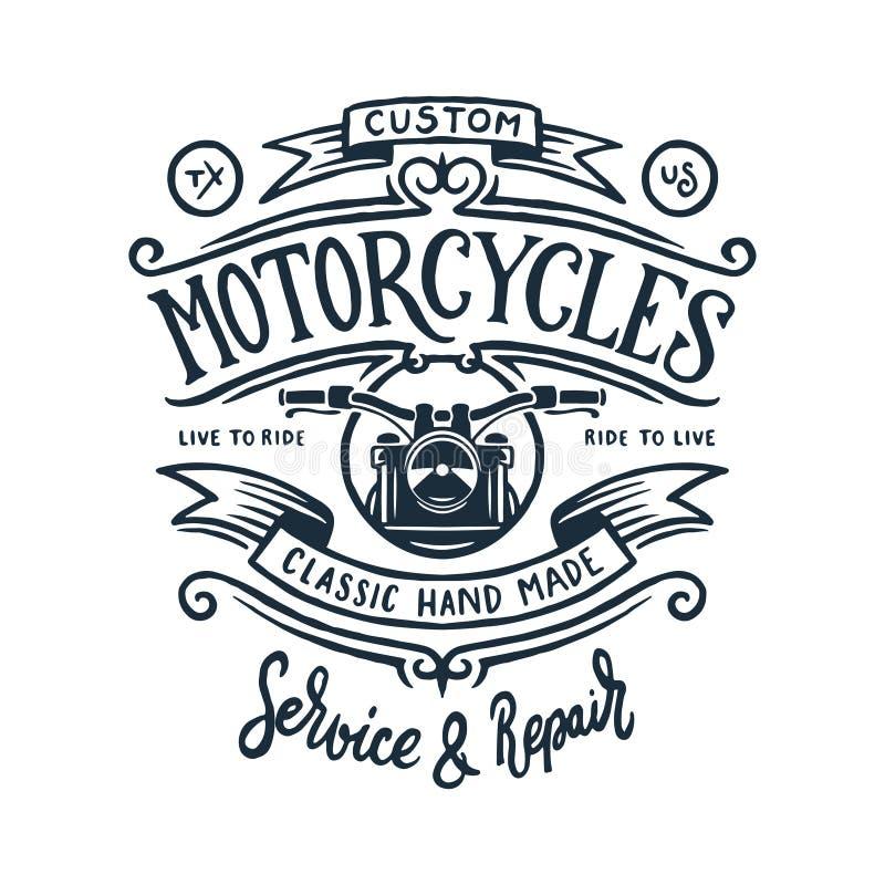 Rocznika motocyklu koszulki grafika również zwrócić corel ilustracji wektora royalty ilustracja