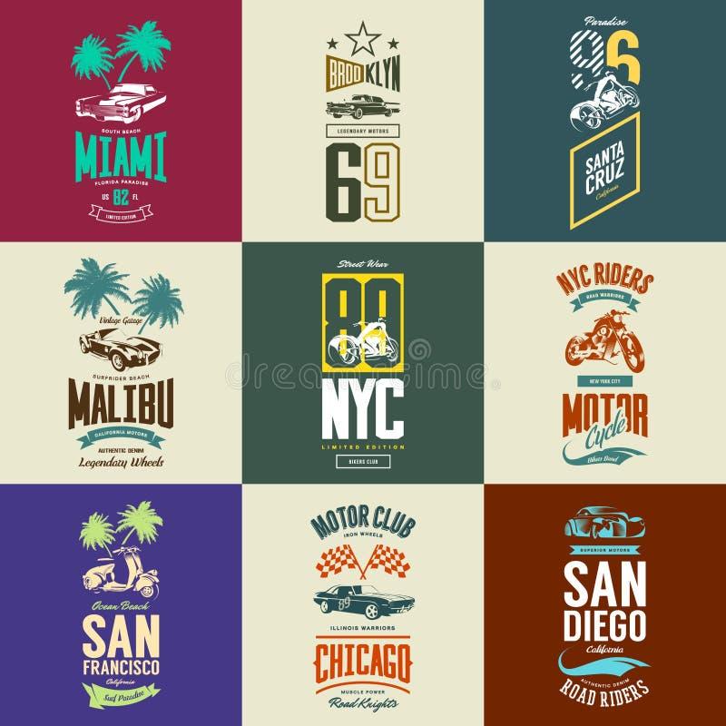Rocznika motocyklu, moped, mięśnia, terenówki i klasyka koszulki samochodowy wektorowy logo, odizolowywał set royalty ilustracja