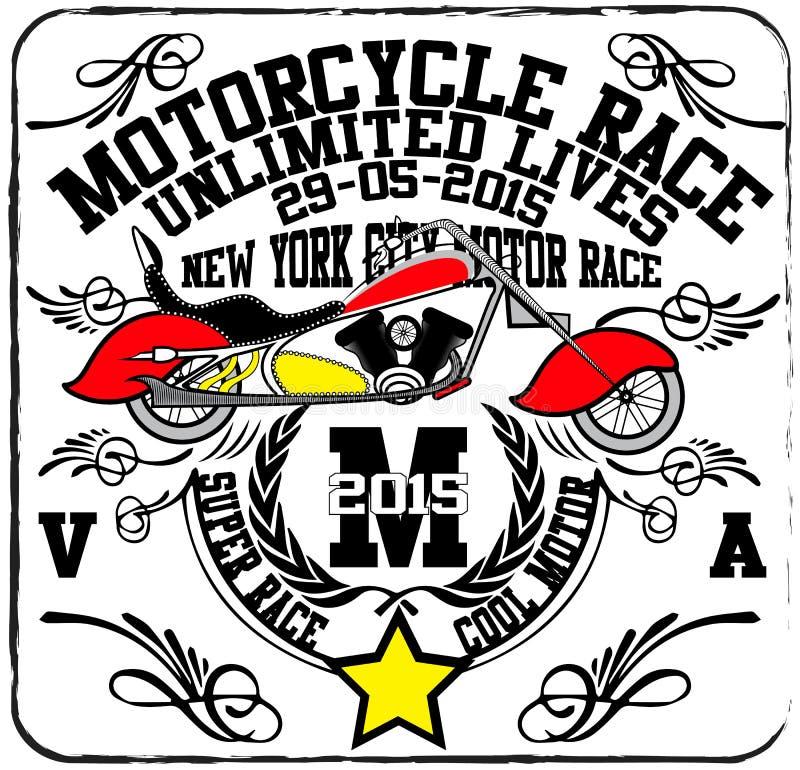 Rocznika motocyklu rasy ręki koszulki rysunkowy druk royalty ilustracja
