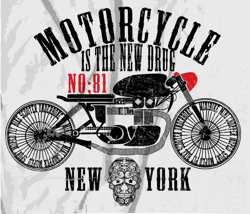 Rocznika motocyklu rasy ręki koszulki rysunkowy druk ilustracji