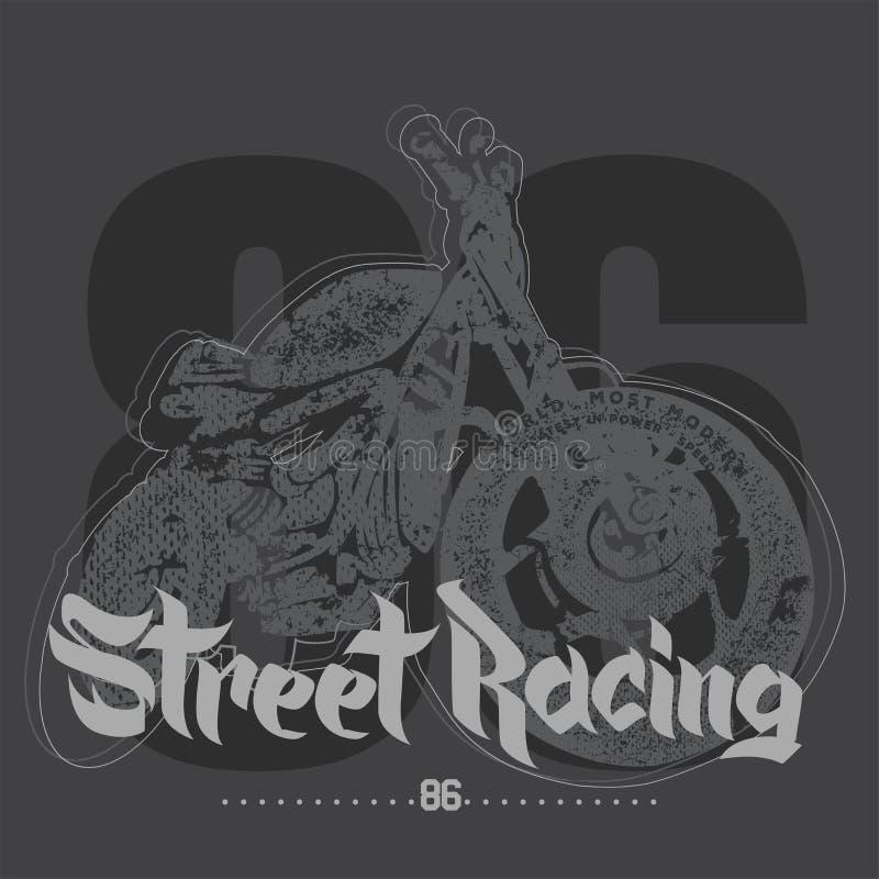 Rocznika motocyklu ulicy ręka rysuję ścigać się royalty ilustracja