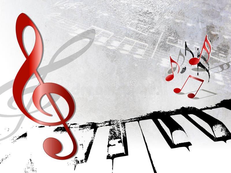 Rocznika muzyczny tło - grunge notatki i pianino ilustracja wektor