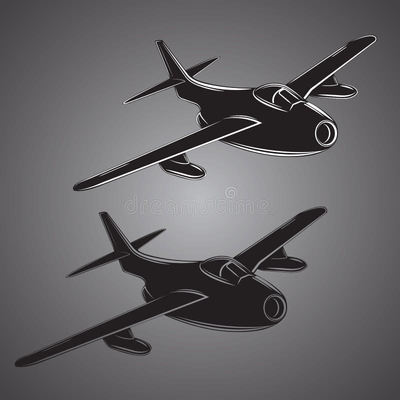 Rocznika myśliwa odrzutowego wektoru ilustracja stary myśliwca samolot Retro machina wojenna ilustracja wektor