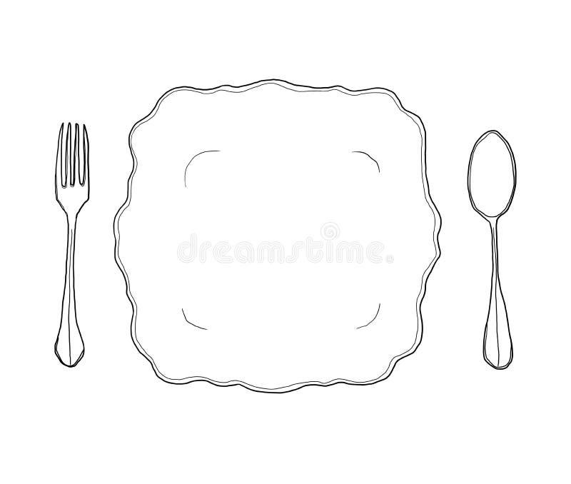 Rocznika naczynia talerza biały rozwidlenie i łyżkowa ręka rysująca kreskowa sztuka śliczni ilustracji