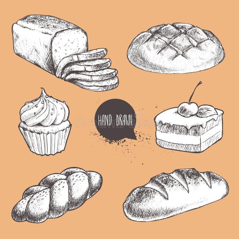 Rocznika nakreślenia stylu piekarni ręka rysujący świeży set Chleb, pokrojony chleb, babeczka, bochenek, tort z wiśnią ilustracja wektor