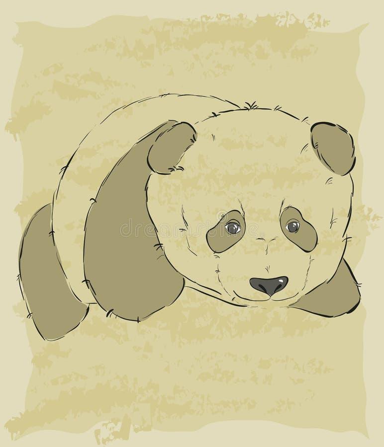 Download Rocznika Nakreślenie śliczna Panda Ilustracji - Ilustracja złożonej z zwierzę, trochę: 28971702