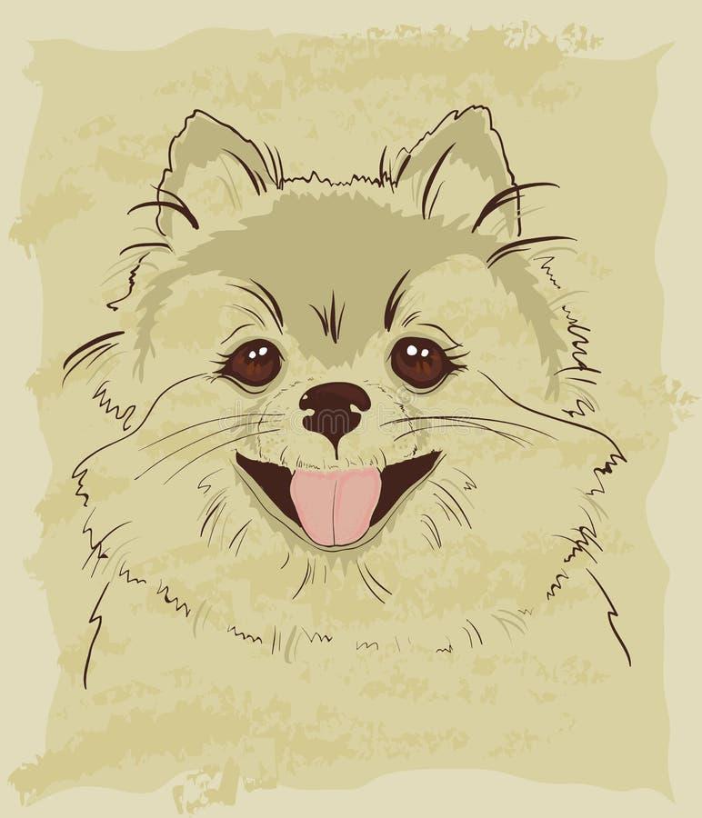 Download Rocznika Nakreślenie śliczny Spitz Pies Ilustracja Wektor - Ilustracja złożonej z charaktery, antyk: 28971707