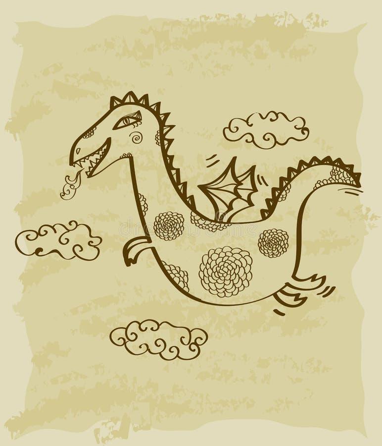 Download Rocznika nakreślenie smok ilustracji. Ilustracja złożonej z bajka - 28971737